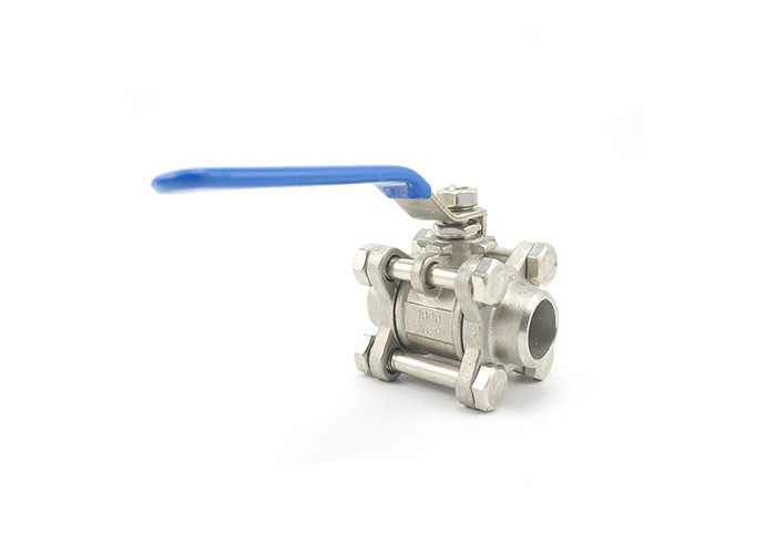Forged Stainless Steel Valves Hygienic Ball Valves 3pcs Body Heat Resistance