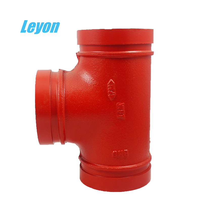 PN10 / PN25 Ductile Iron Pipe Fittings Grooved Tee For Fire Fighting System
