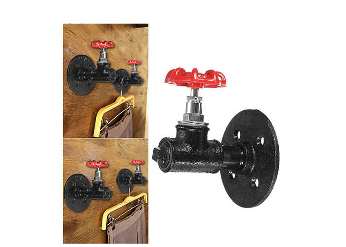 Threaded Malleable Iron Tee Red Spigot Handle Style Hooks For Wall Mounted Coat Rack
