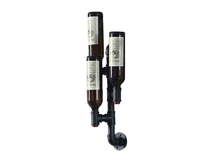 Industrial Pipe 3 Bottle Wine Rack Epoxy Coating For Kitchen / Dining Area